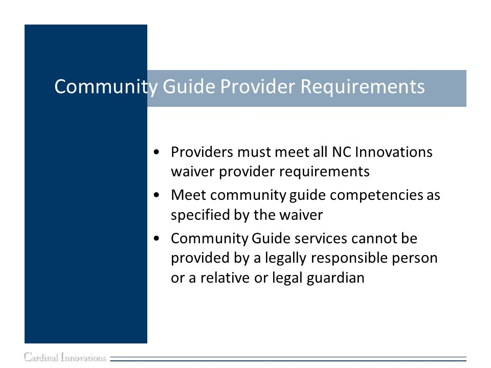 Community Guide Provider Requirements