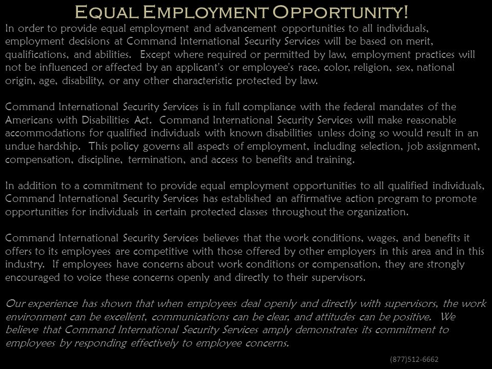 Equal Employment Opportunity!