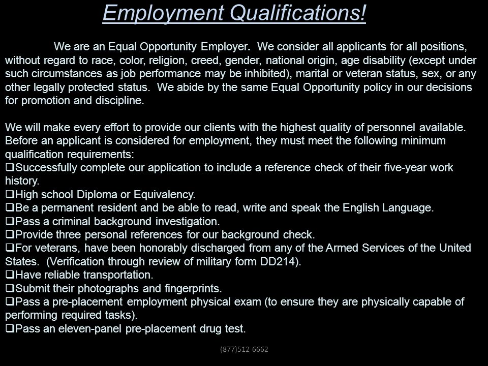 Employment Qualifications!