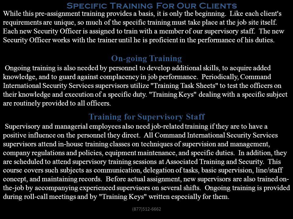 Training for Supervisory Staff