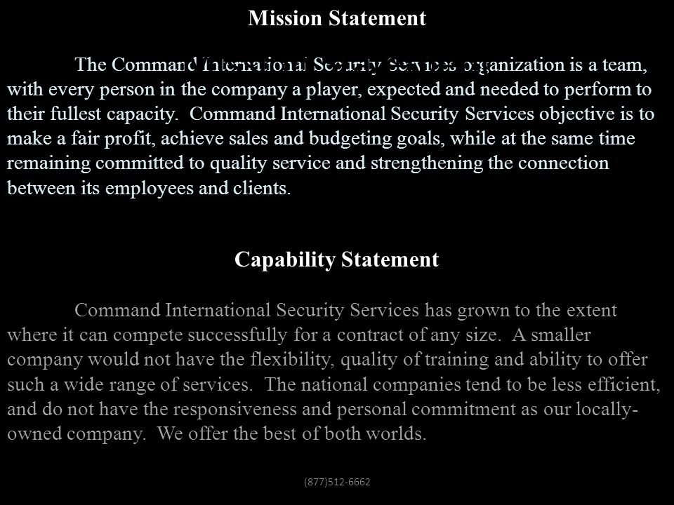Mission Statement Mission Statement Capability Statement