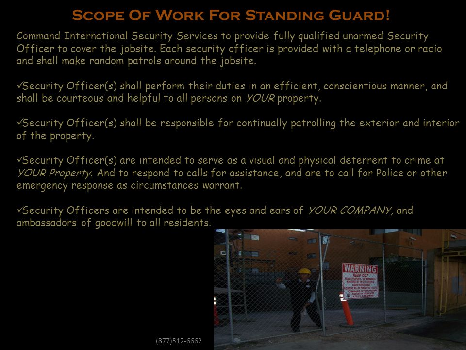 Scope Of Work For Standing Guard!