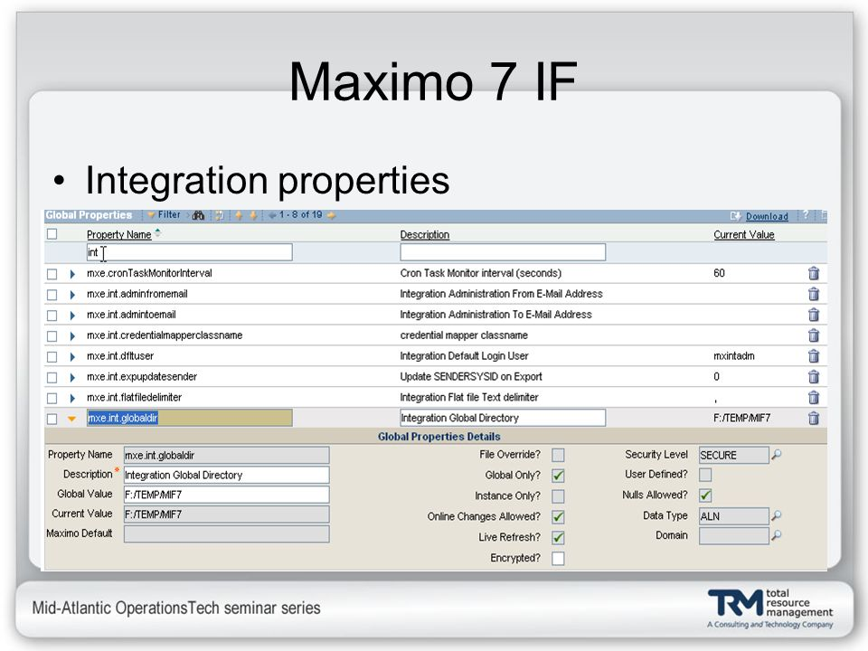 Maximo 7 IF Integration properties