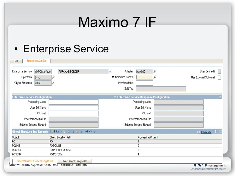 Maximo 7 IF Enterprise Service