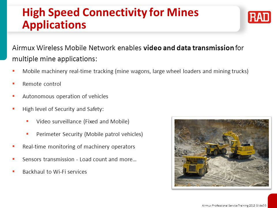 High Speed Connectivity for Mines Applications