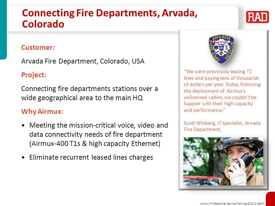 Connecting Fire Departments, Arvada, Colorado