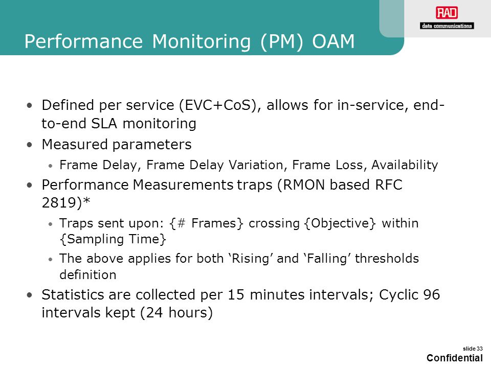 Performance Monitoring (PM) OAM