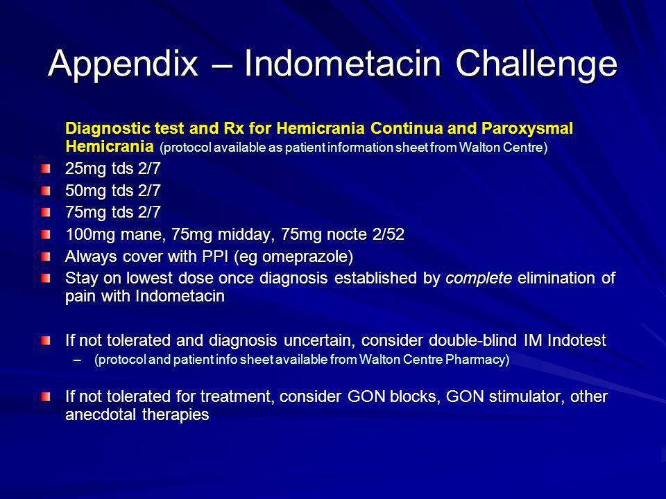 Appendix – Indometacin Challenge