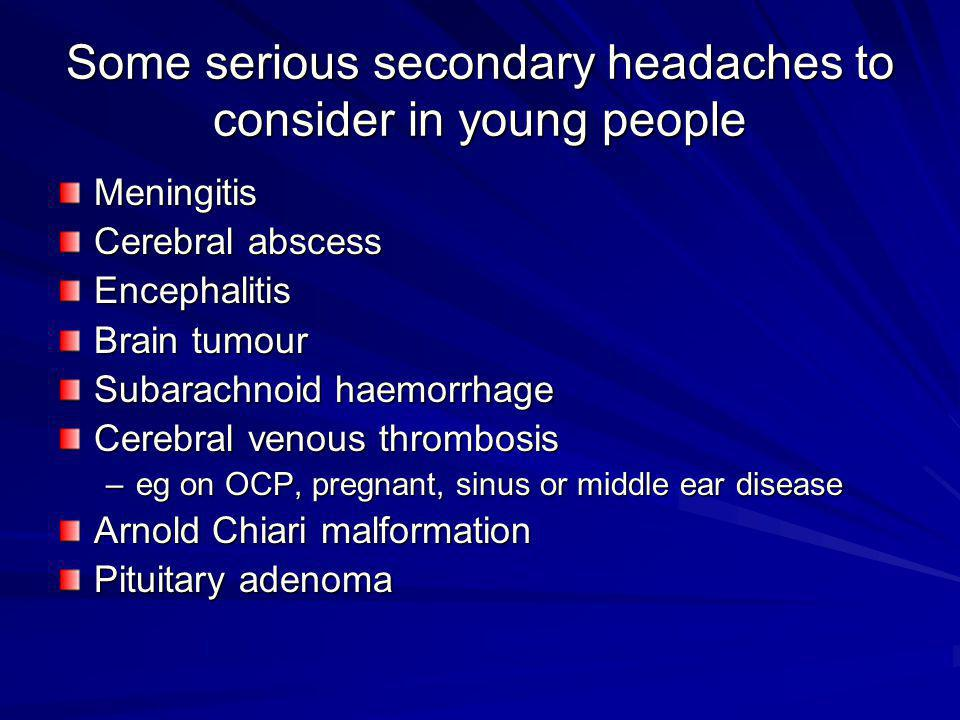 Some serious secondary headaches to consider in young people