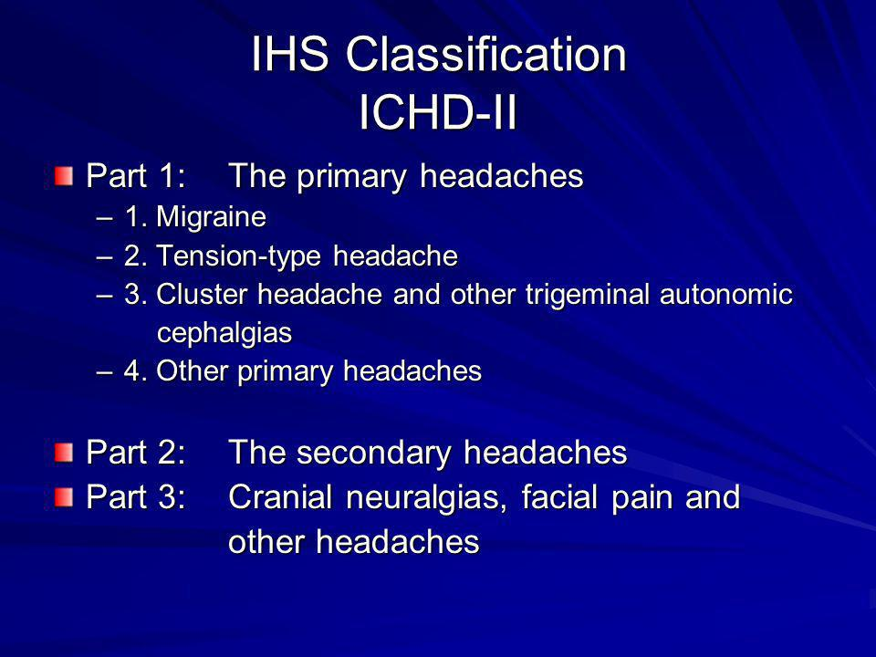 IHS Classification ICHD-II