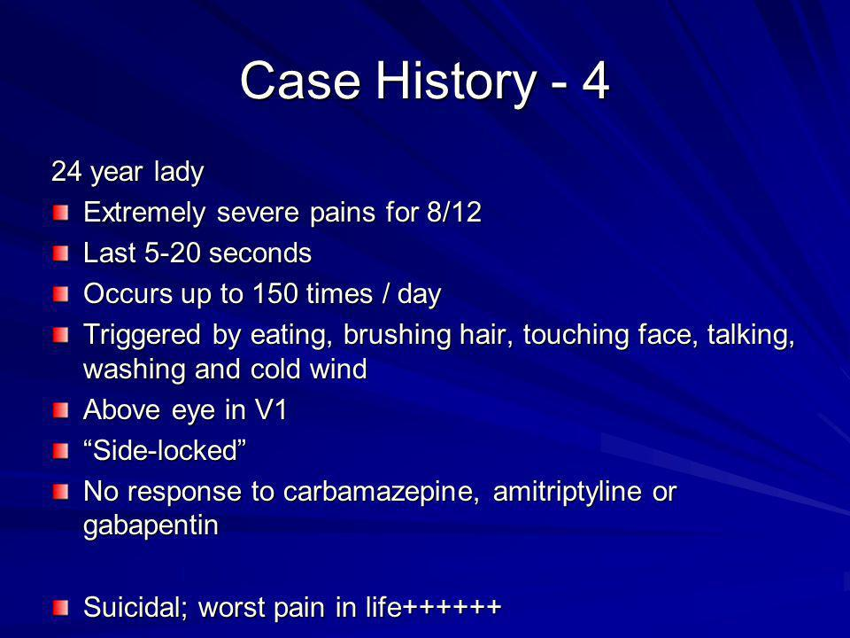 Case History year lady Extremely severe pains for 8/12