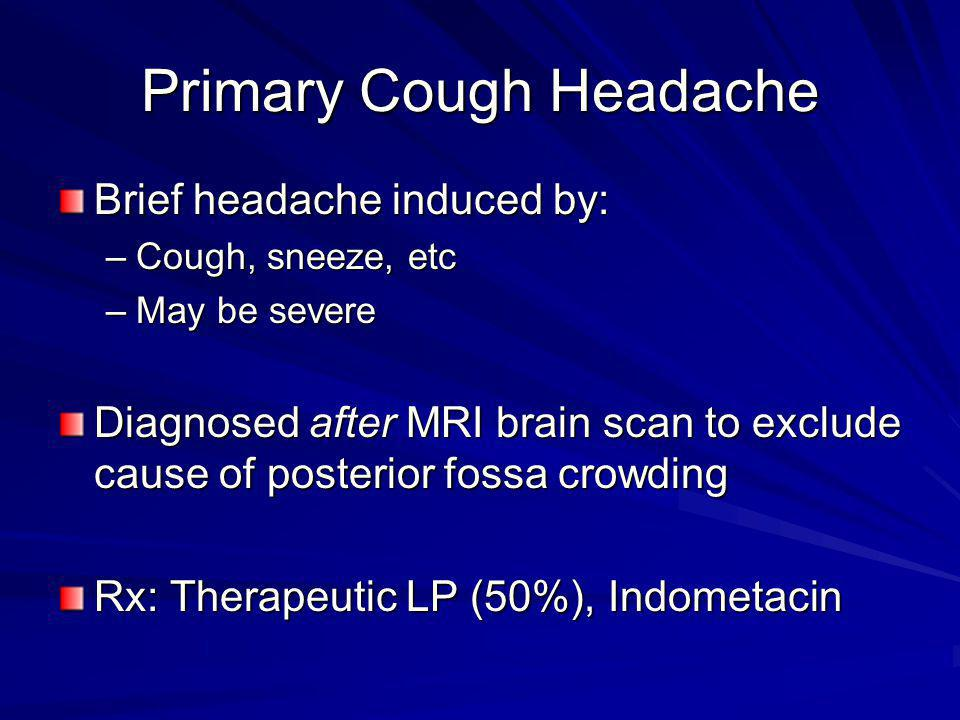 Primary Cough Headache