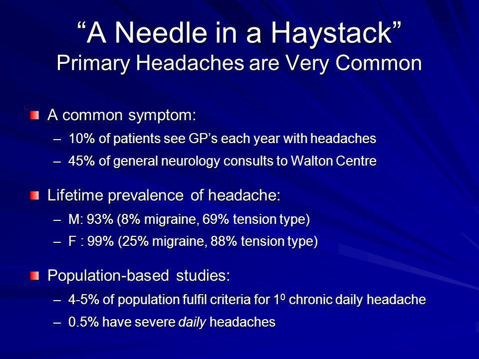 A Needle in a Haystack Primary Headaches are Very Common