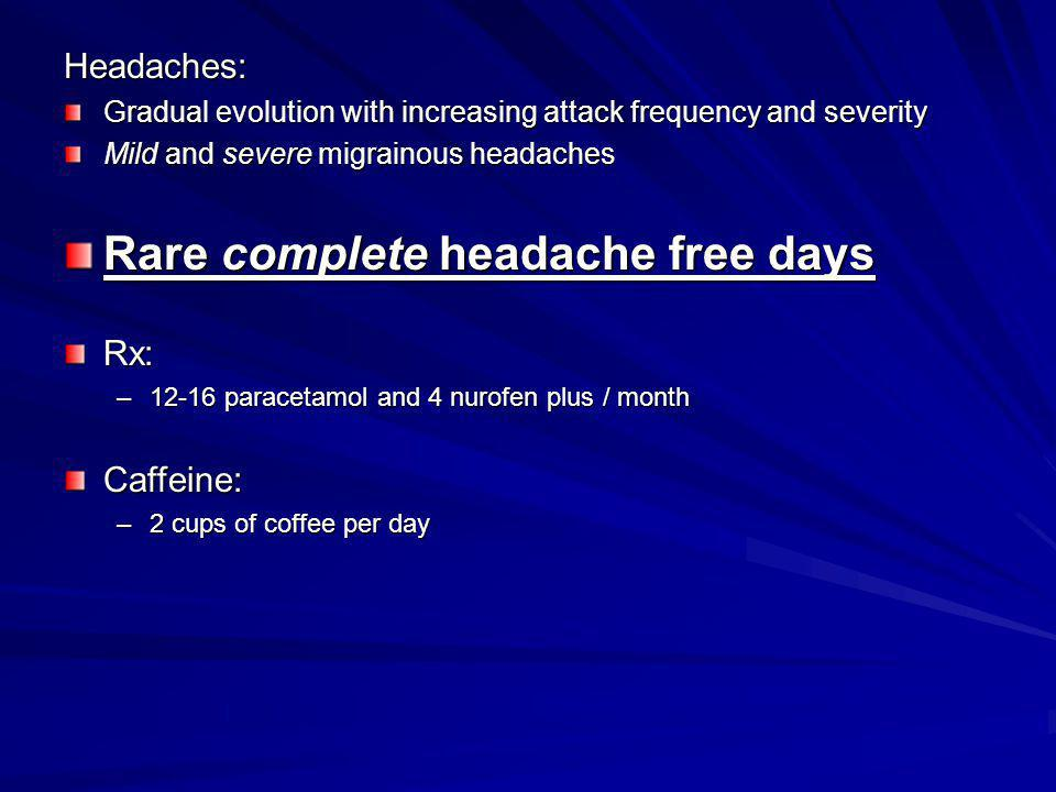 Rare complete headache free days