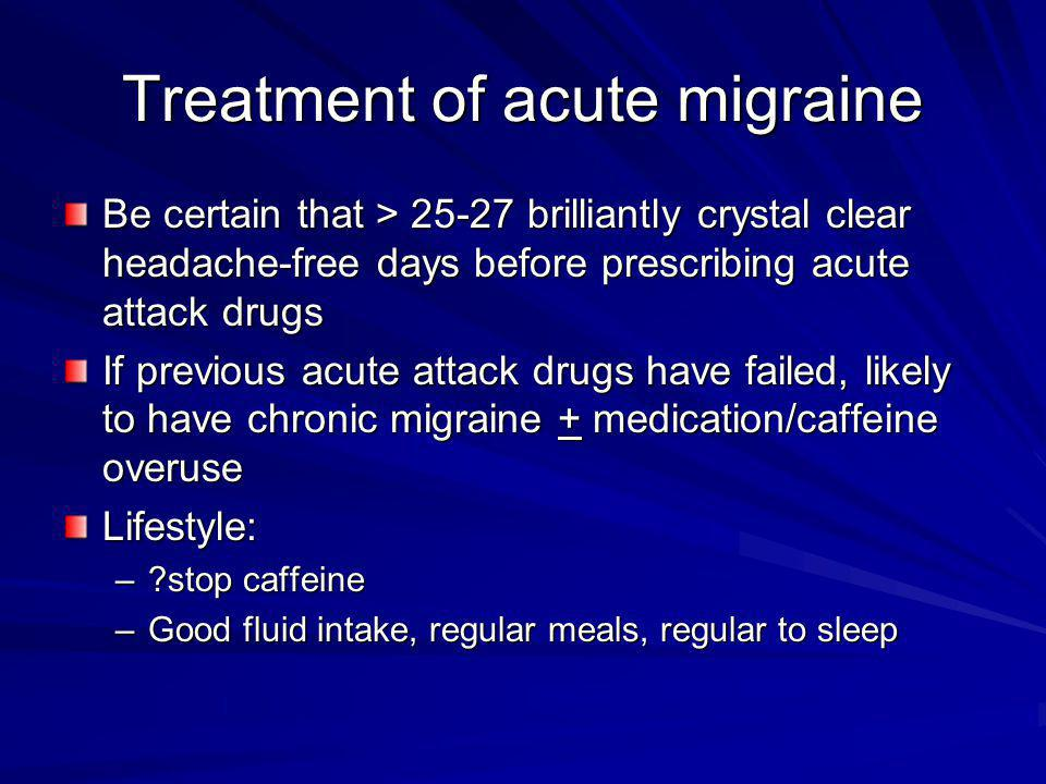 Treatment of acute migraine