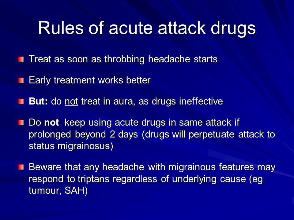 Rules of acute attack drugs