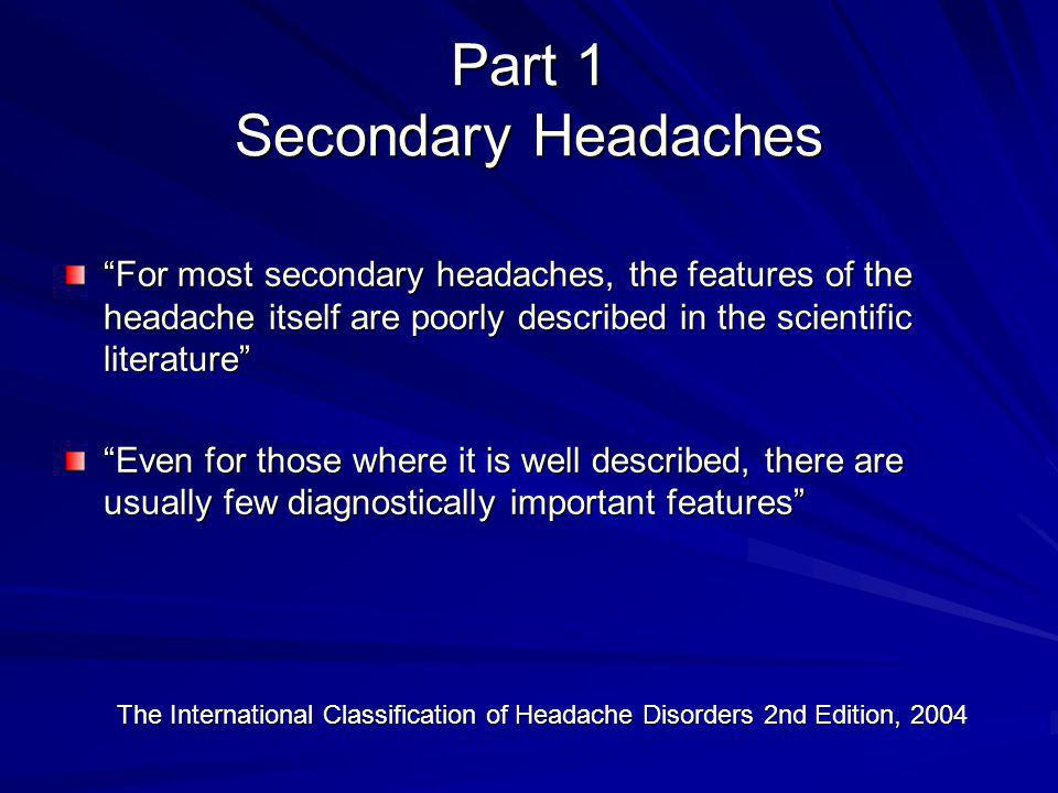 Part 1 Secondary Headaches