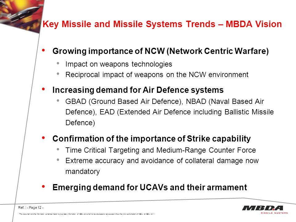 Key Missile and Missile Systems Trends – MBDA Vision