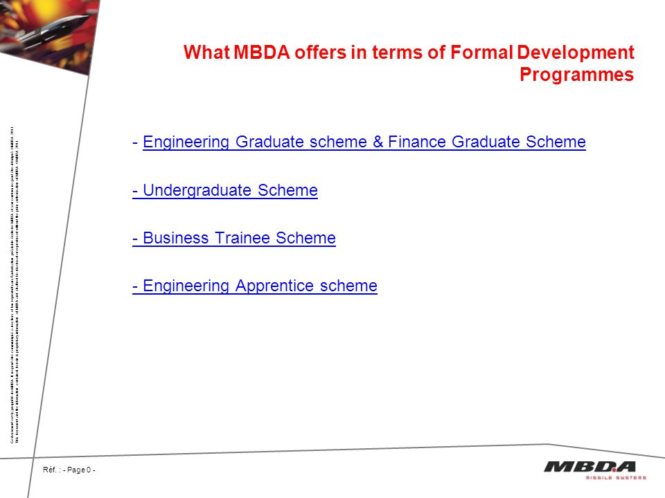 What MBDA offers in terms of Formal Development Programmes