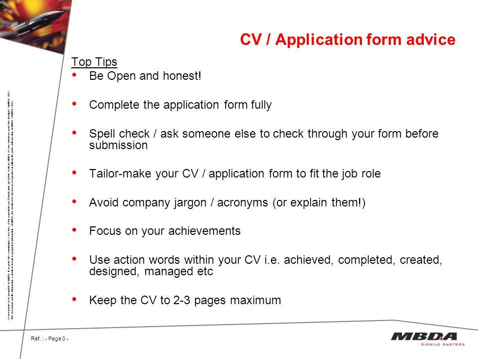 CV / Application form advice