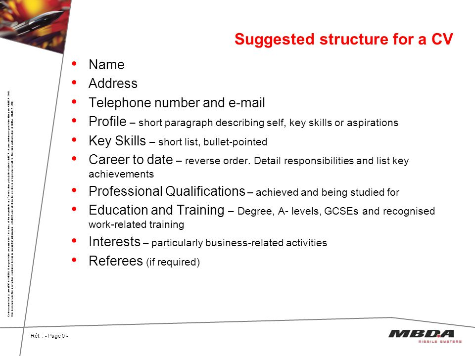 Suggested structure for a CV
