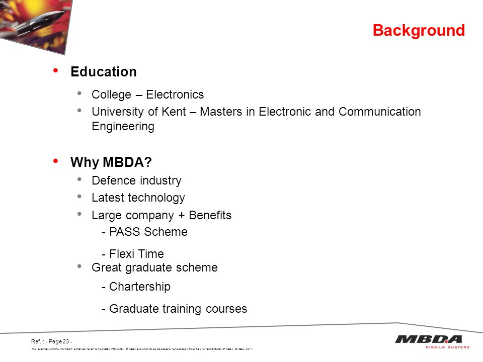 Background Education Why MBDA College – Electronics