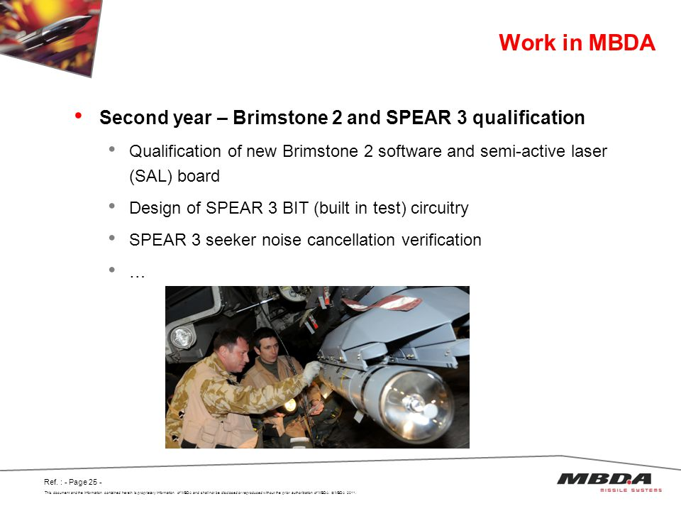 Work in MBDA Second year – Brimstone 2 and SPEAR 3 qualification
