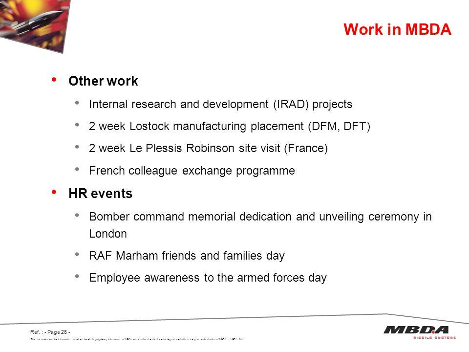 Work in MBDA Other work HR events