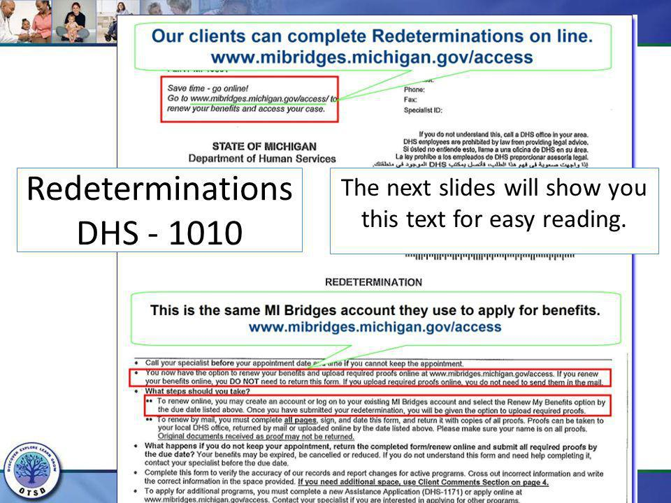 Redeterminations DHS - 1010
