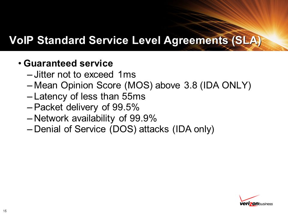 VoIP Standard Service Level Agreements (SLA)