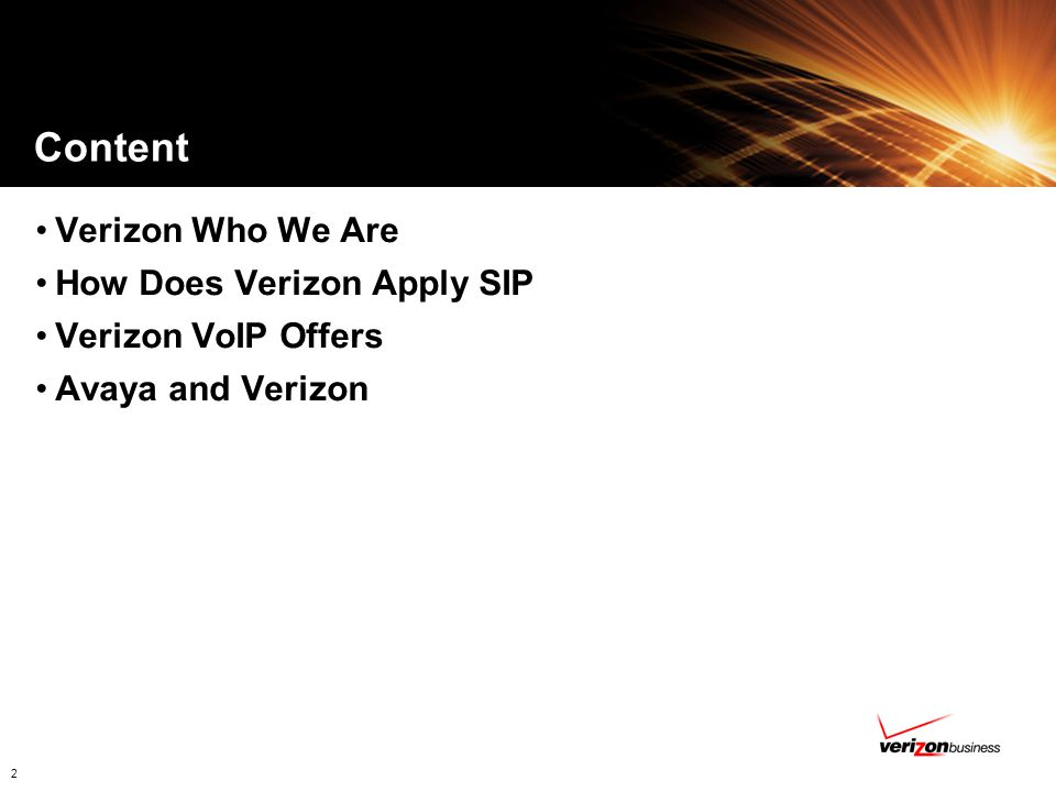 Content Verizon Who We Are How Does Verizon Apply SIP