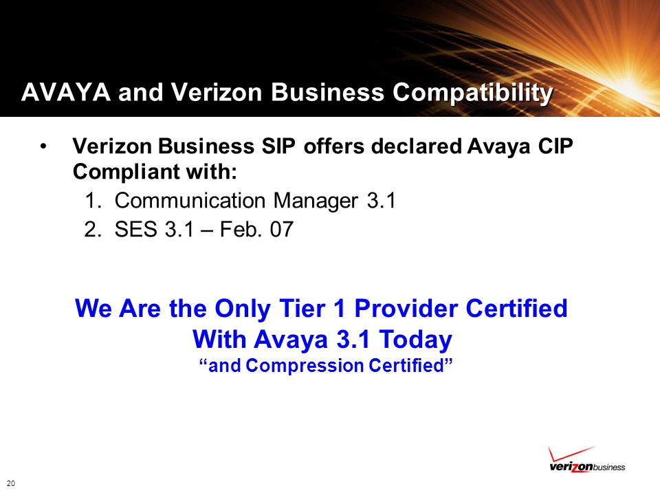 AVAYA and Verizon Business Compatibility