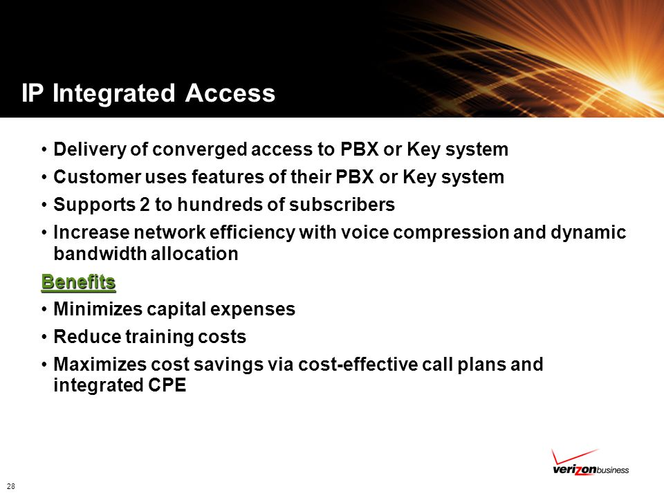IP Integrated Access Delivery of converged access to PBX or Key system