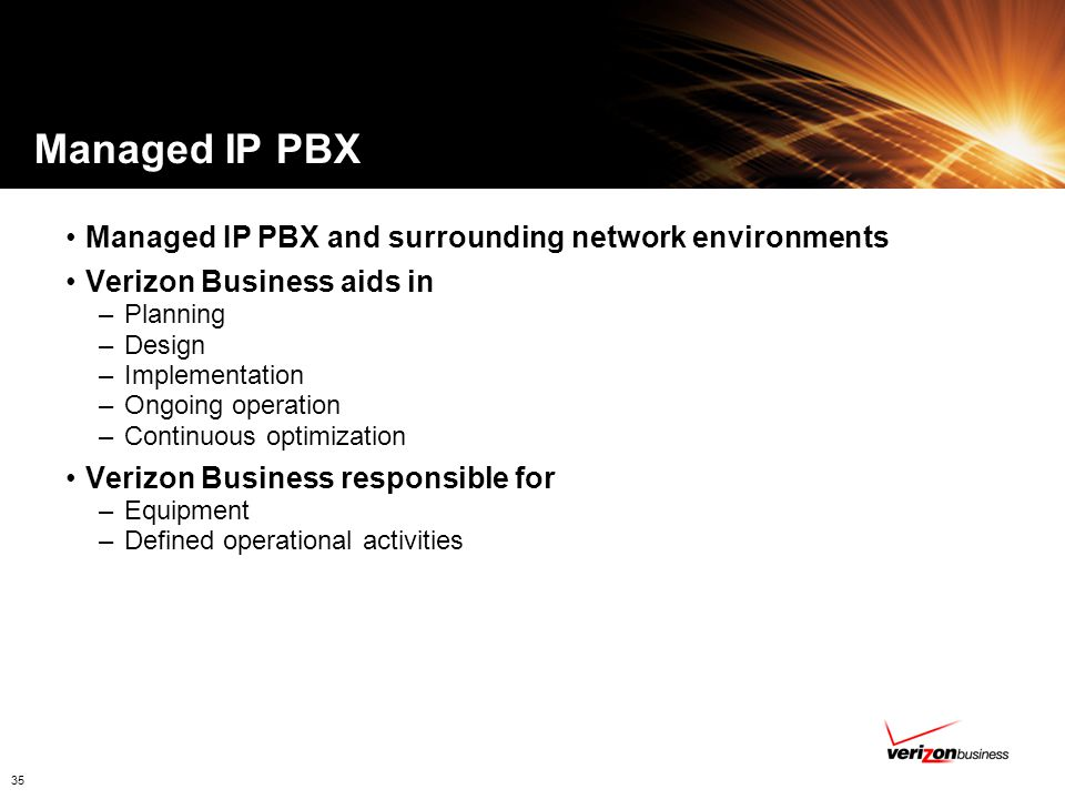 Managed IP PBX Managed IP PBX and surrounding network environments