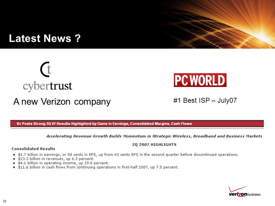 Latest News A new Verizon company #1 Best ISP – July07