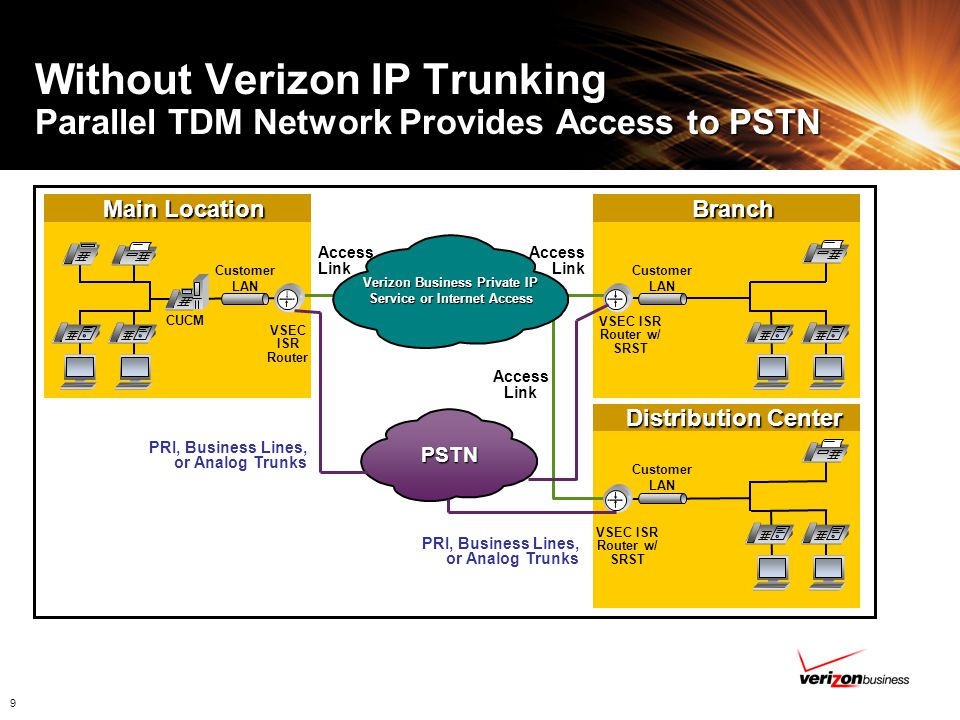 Verizon Business Private IP Service or Internet Access