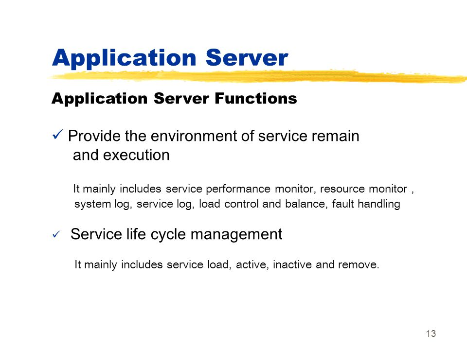 Application Server Application Server Functions
