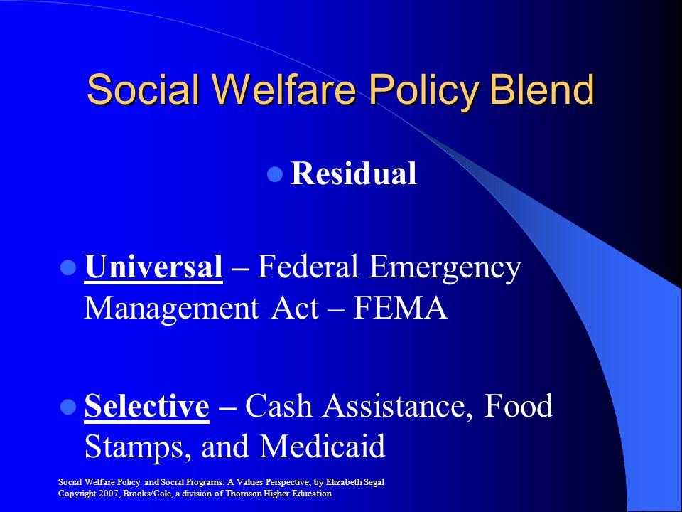 Social Welfare Policy Blend