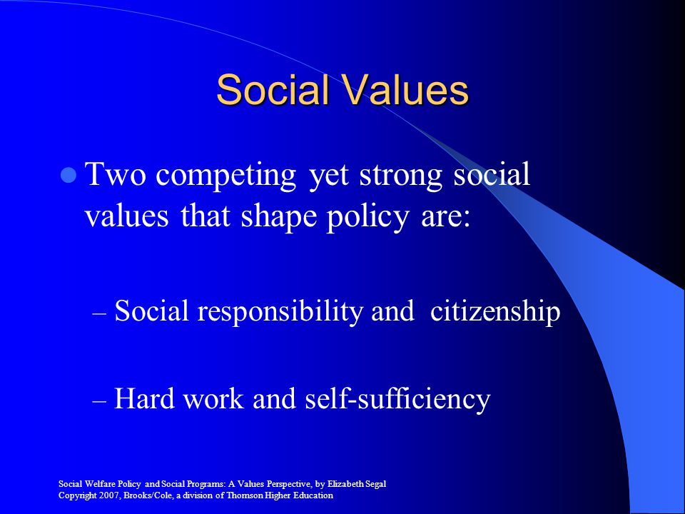Social Values Two competing yet strong social values that shape policy are: Social responsibility and citizenship.
