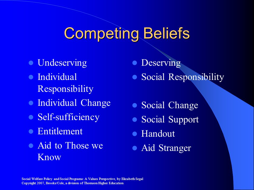 Competing Beliefs Undeserving Individual Responsibility