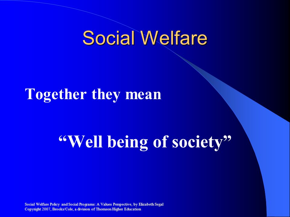 Well being of society