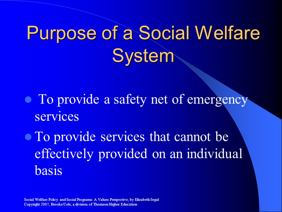 Purpose of a Social Welfare System