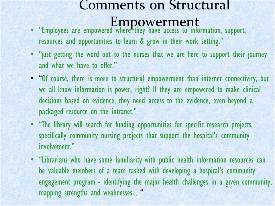 Comments on Structural Empowerment