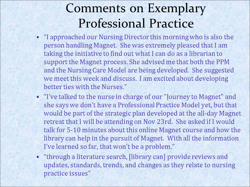 Comments on Exemplary Professional Practice