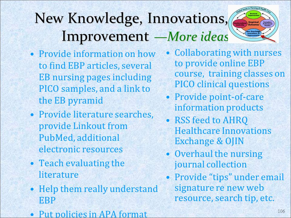 New Knowledge, Innovations, and Improvement —More ideas