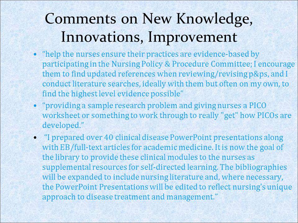 Comments on New Knowledge, Innovations, Improvement