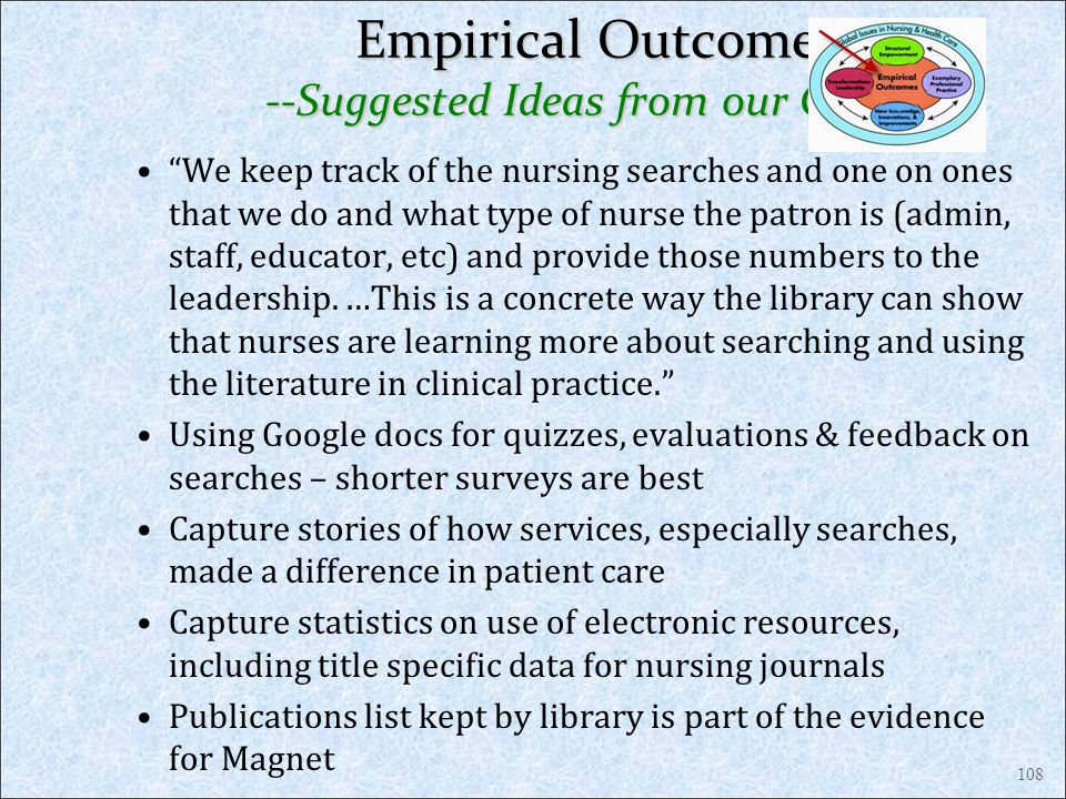 Empirical Outcomes --Suggested Ideas from our Classes