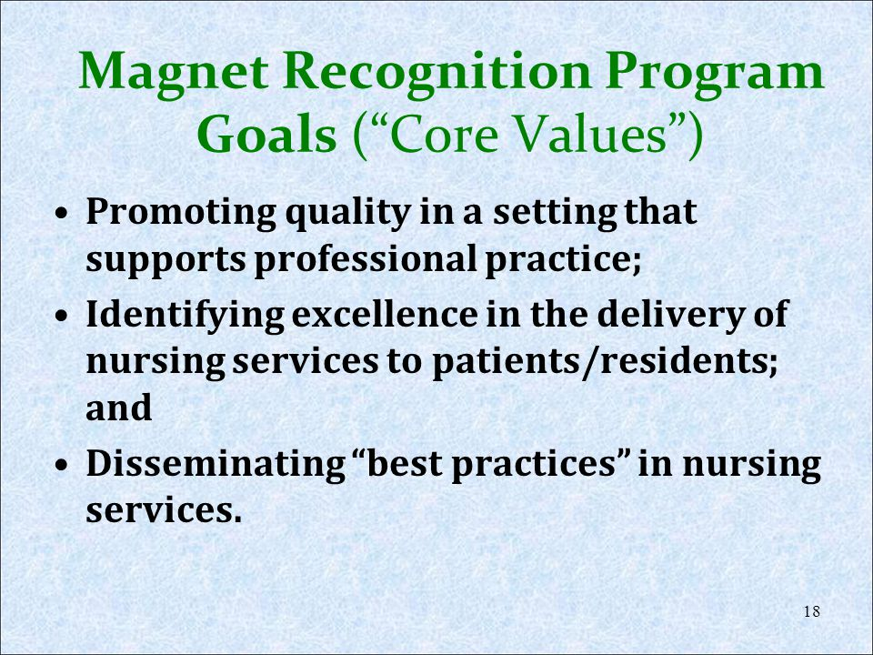Magnet Recognition Program Goals ( Core Values )