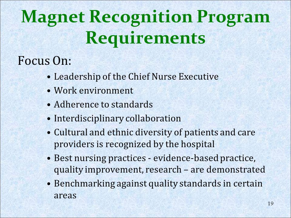 Magnet Recognition Program Requirements