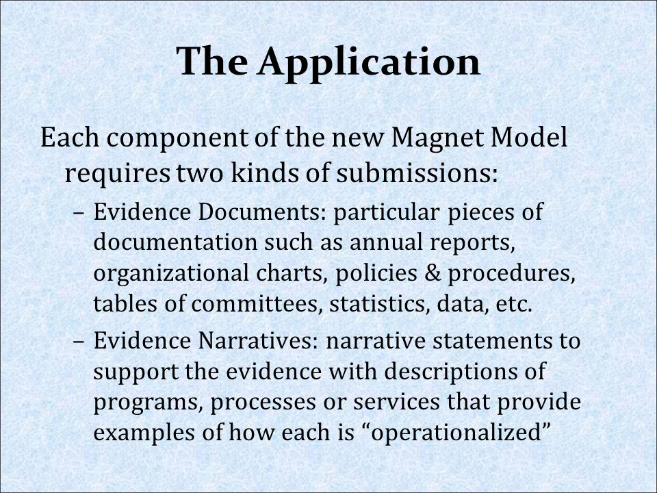 The Application Each component of the new Magnet Model requires two kinds of submissions: